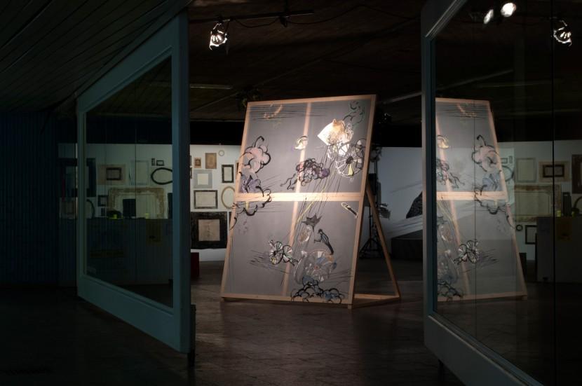 """Schwarzregen"", 2011, 290 x 210 cm, Inc, Acryl, Lithography on Paper, Fabric, Wood"